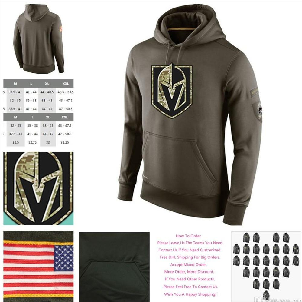 online store bff5a 33ab0 Men s Vegas Golden Knights Ice Hockey Salute to Service Winter Warm Cold  Weather Sideline Army Green Sports Pullover Hoodies Sweatshirts