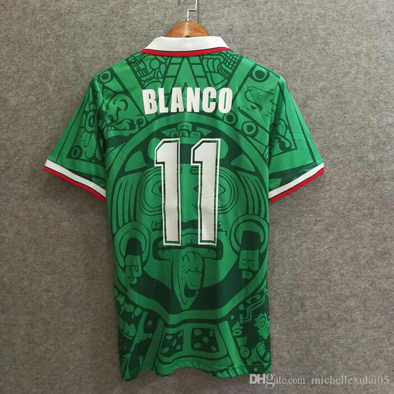 1998 Mexico home green retro soccer shirts BLANCO vintage football jersey adult's a+++ thai quality sport wear old season outdoor soccer top