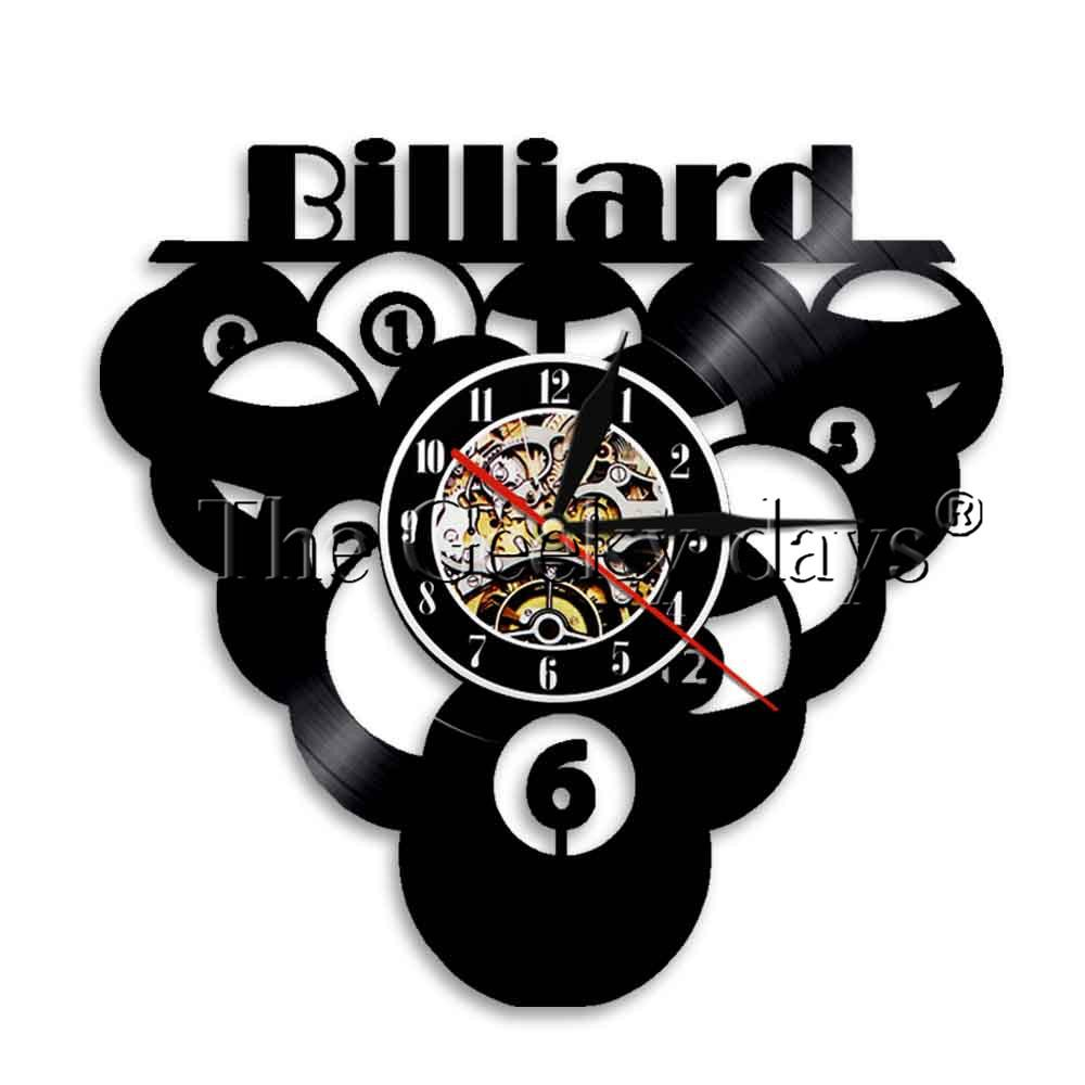 Großhandel 1 Stück Billard Ball Pool Design Schallplatte Wanduhr ...