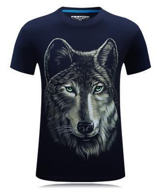 Tee Shirt Mens Cotton Designs Custom Funny Wolf 3d Printed T ...