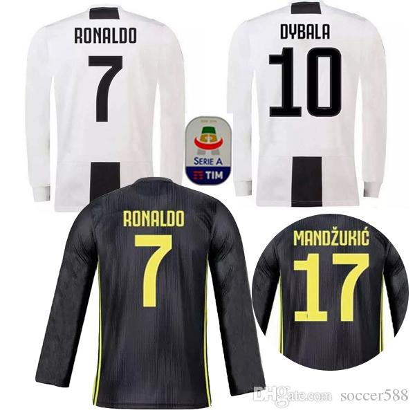 509f0f63462 sale 2018 long sleeve ronaldo juventus home third soccer jersey 18 19  dybala football shirt 2019