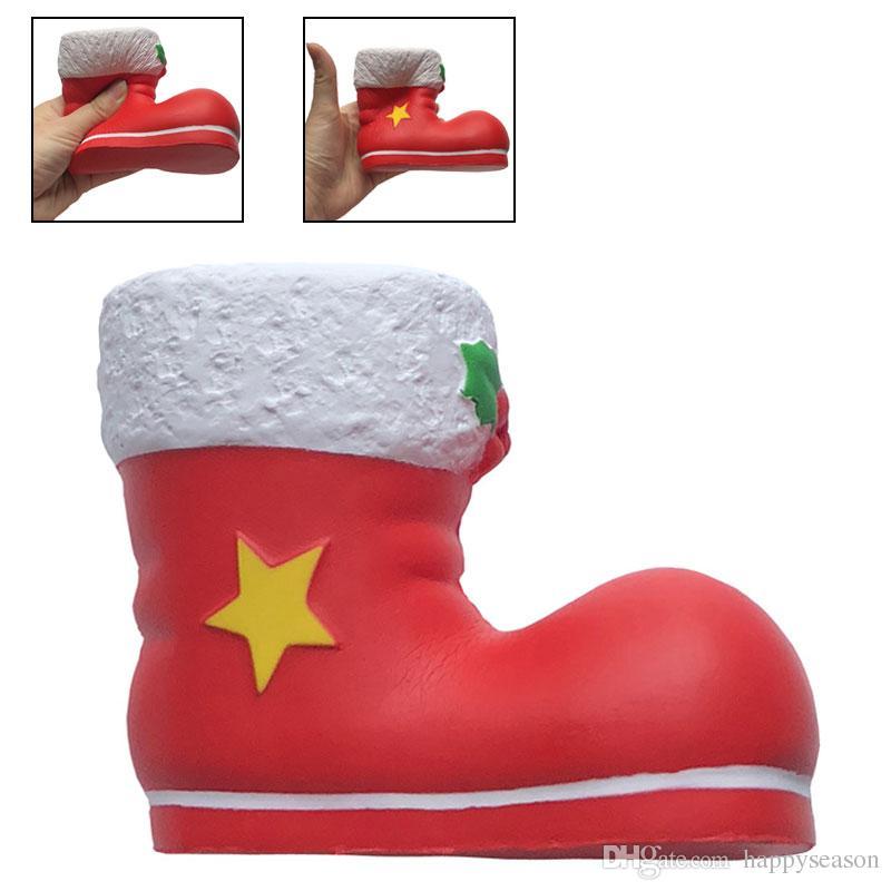 Großhandel Squishy Weihnachtsmann Schuhe Weihnachtsmann Stiefel Squishy Langsam Steigende Spielzeug Kinder Dekompression Spielzeug Weihnachtsdekor