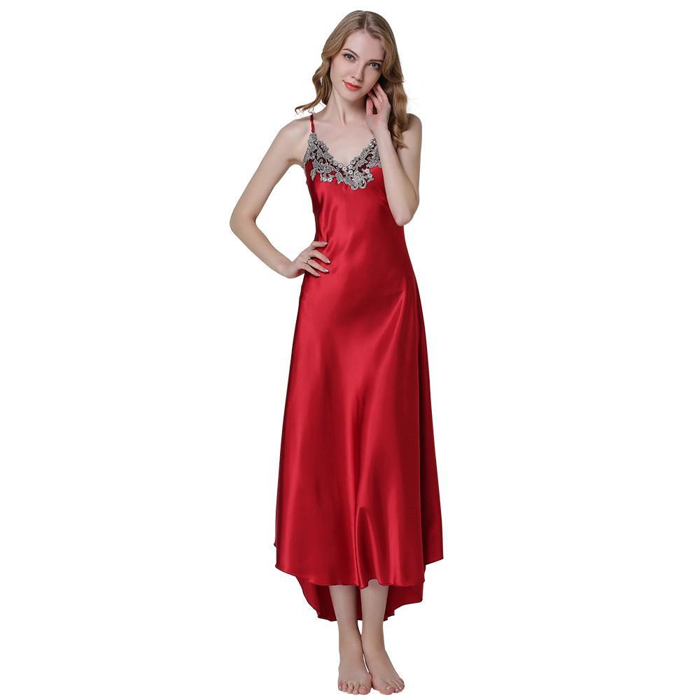 ea4c69bef Compre Moda Feminina Sexy Bordado Rendas Floral Longo Nightgown De Cetim  Vestido De Noite Sleepwear Feminino Vestido De Seda Camisolas Camisa  Homewear De ...