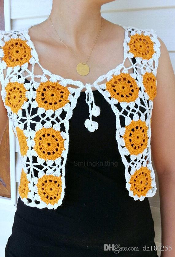 Granny Compre Crochet A Mano Hecho Orange Chaleco Square BXn8qXrU