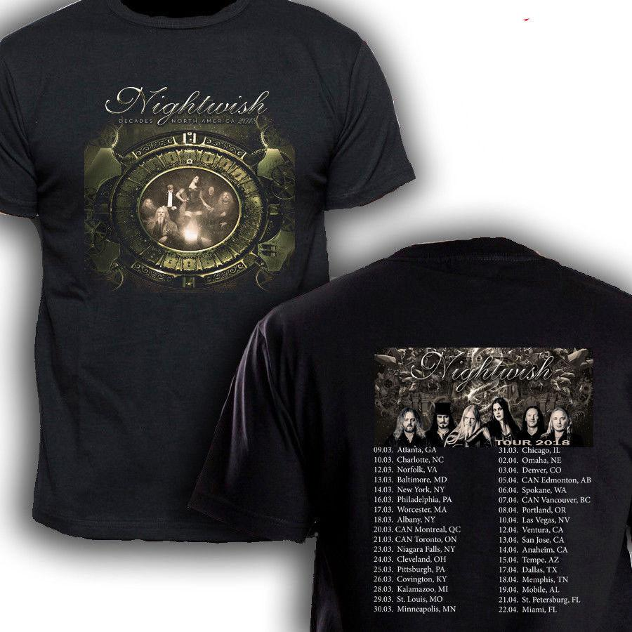 NIGHTWISH DECADES TOUR DATES 2018 Black t-shirt Size S-3XL HOT SELL 2018  New Fashion Brand Men tees Solid Color short Sleeve