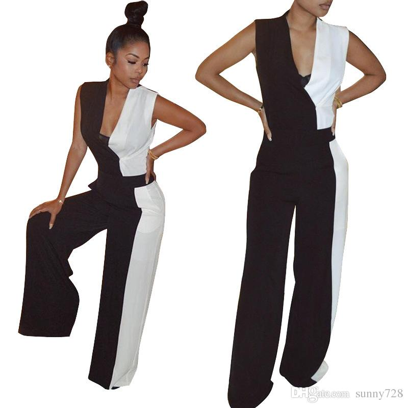 aa6e592aa0be 2019 Black And White Panelled Fashion Brand Women Jumpsuits For Party 2018  Autumn Deep V Neck Sleeveless OL Work Jumpsuits Long Pants Suits From  Sunny728