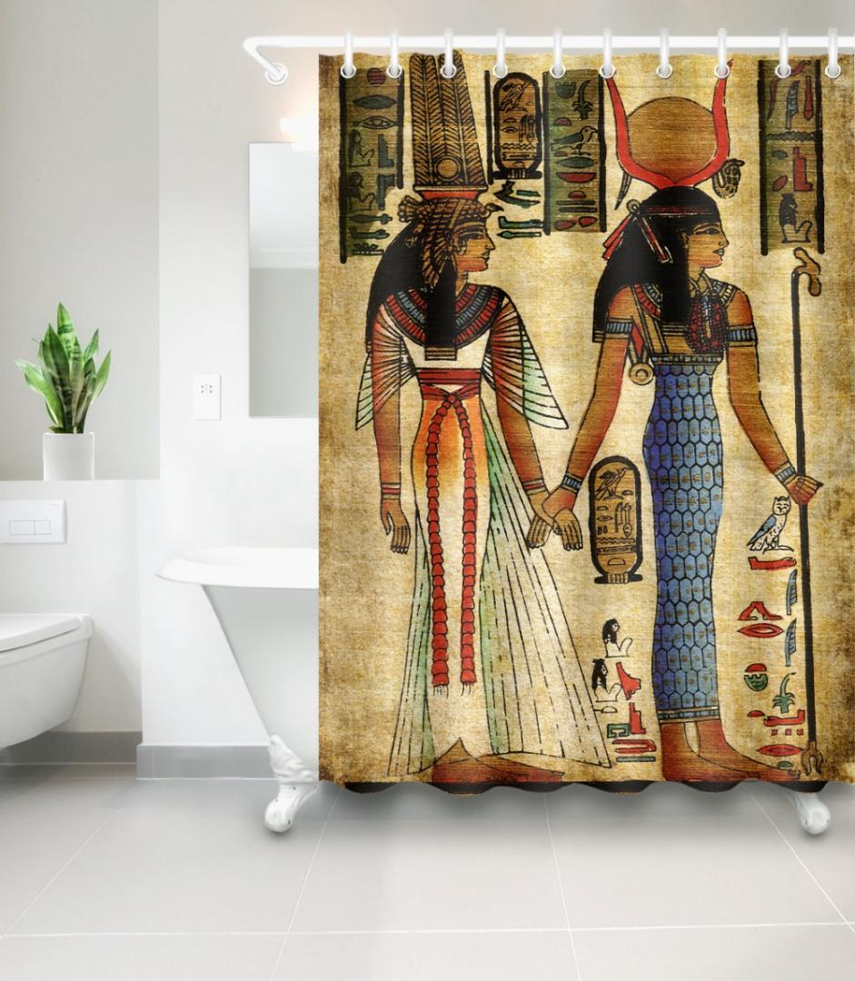 2019 African Shower Curtain Ancient Egypt Pharaoh Pyramid Queen Watercolor Portrait Mural Mildew Proof Waterproof Home Decor From Goutour 7687