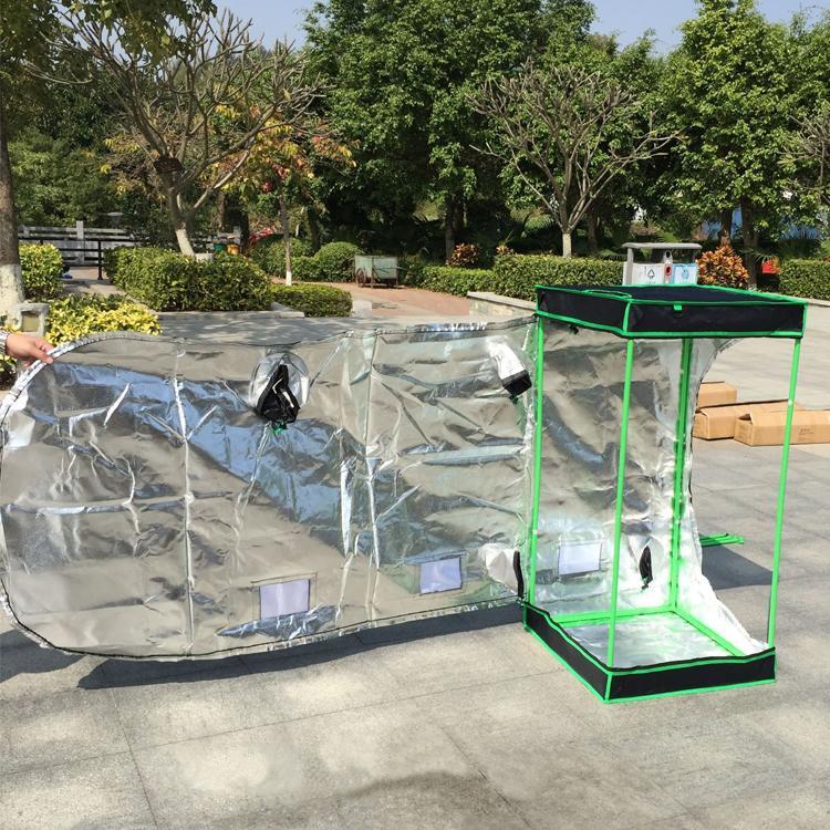 Reflejante Mylar Waterproof Grow Tent Sala de planta verde con ventana de obeservación y bandeja de suelo para flores de interior Planta de crecimiento desmontable