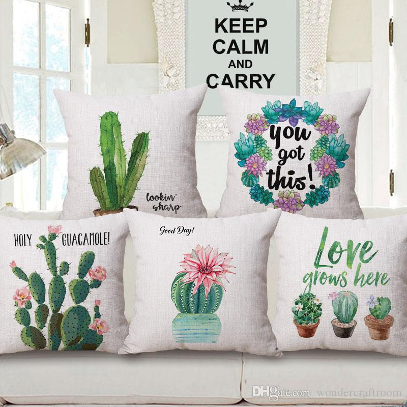 Watercolor Painting Plant Cactus Cushion Covers Home Decorative Sofa Throw Cushion Cover Linen Cotton Pillow Case