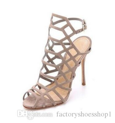 2018 Summer Hot Sale Fashion Women Cut Outs High Heel Sandals Buckle Strap Peep Toe High Heels Stiletto Heel Cage ankle Boot