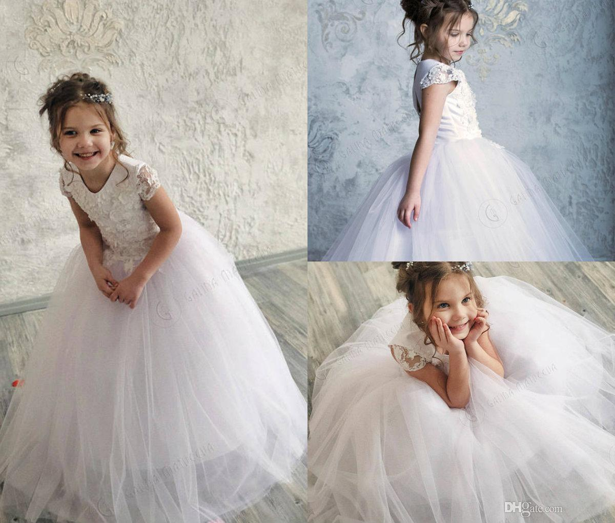 b80424afb68 2018 White Flower Girl Dresses Cap Sleeve Lace Applique Ball Gown Girls  Pageant Dress Birthday Party Gown Lace Up Back First Communion Dress Royal  Blue ...