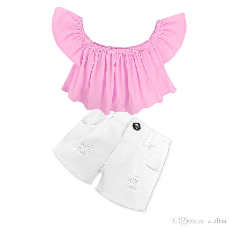 pink with white Shorts whKids girls set 2018 Baby Girl Off Shoulder pink T Shirt Tops Shorts Outfit children Clothes Sets 1-6y girl clothes