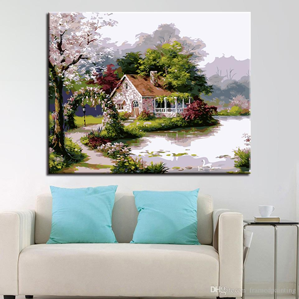 Cooperative Diamond Mosaic Painting Landscape Stickers Of Living Room Wall Picture Home Decor Diamond Embroidery Lake Pattern Home & Garden