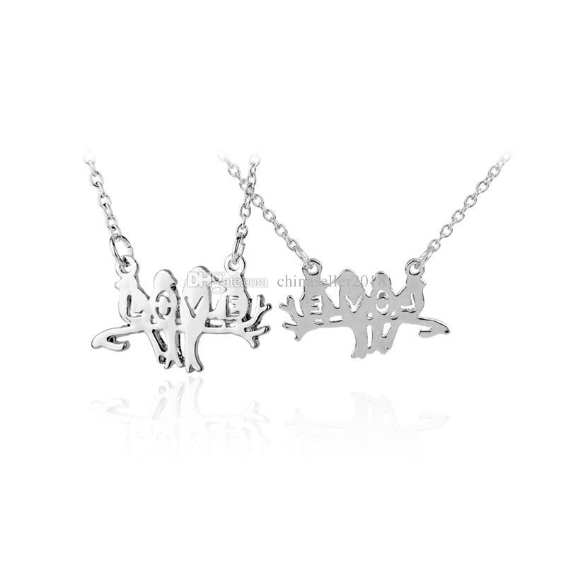Bird On Branch Necklace Hollow Love Silver Thin Chain Women Tiny Charm Lovely Animal Bridesmaid Necklace Valentine's Day Gift