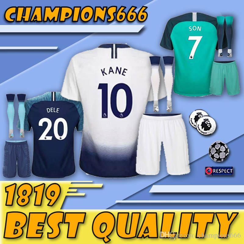 dfa116b930 Compre Top Tailândia 18 19 KANE Jerseys Home Away Terceiro Branco Camisola De  Futebol 2018 2019 Spurs ERIKSEN DELE SON Fora Do Uniforme De Futebol Azul  Com ...