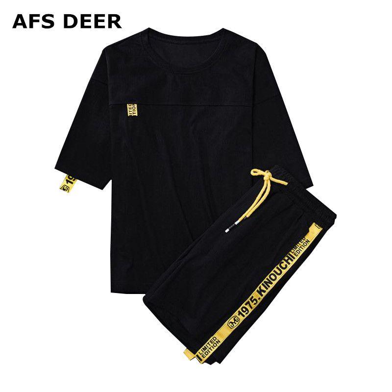 Acquista Tuta Da Uomo Estiva Da Uomo Di Marca Set Manica Corta T Shirt Hip  Hop Tops + Shorts Tuta Sportiva Set Da Uomo Set Di Abbigliamento Maschile A  ... d9457f2839b5