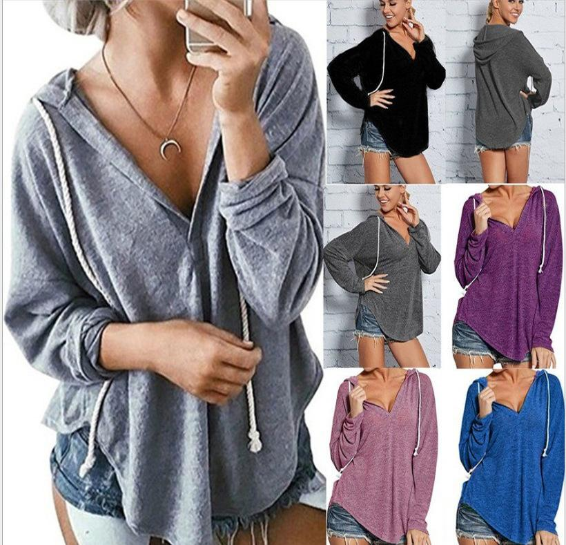 92b2f3fe055f 2019 S 2XL Women V Neck Long Sleeve Hooded Blouse Tops T Shirt Pure Color  Spring Winter Casual Leisure T Shirt Blouse From Tumangui, $23.02    DHgate.Com
