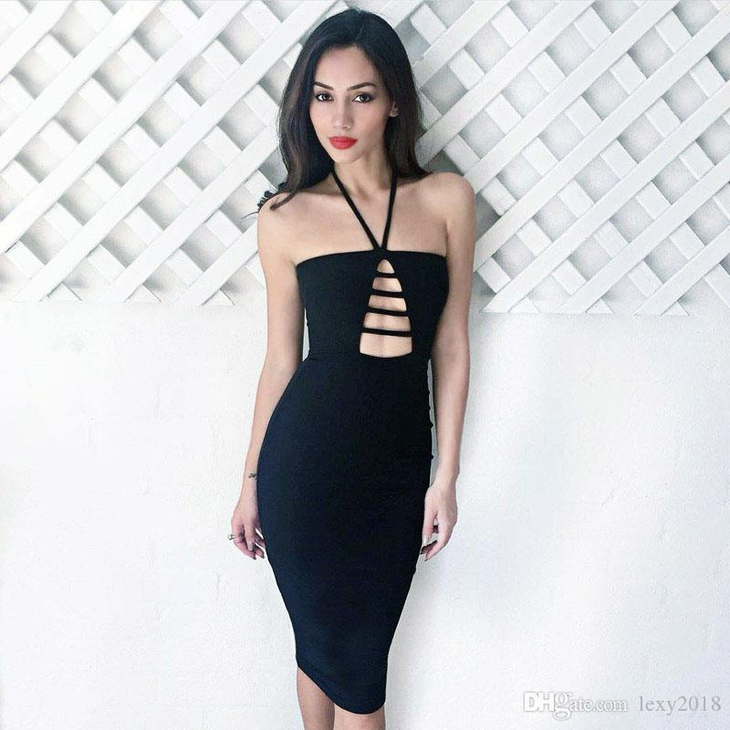 Wholesale Sexy Halter Hollow Out Backless Midi Nightclub Dress Women ... bb0ce29771eb