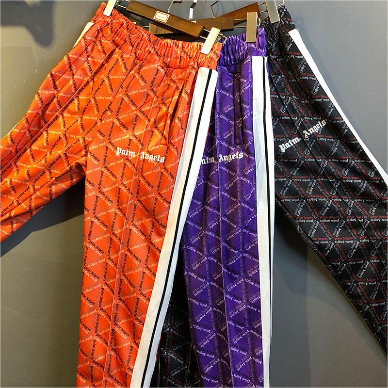 verschiedene Stile herren weit verbreitet Palm Angels Pantalones de chándal Hombres Mujeres Hip Hop Rayado Palm  Angels Pantalones de chándal Joggers Púrpura Naranja Negro