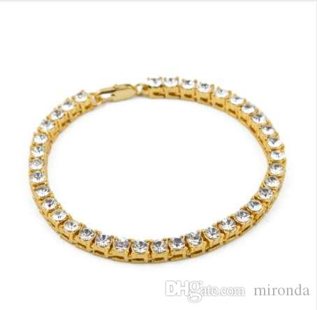 Bling Iced Out 1 Row Rhinestones Bracelets Hip Hop Crystal Jewelry ... 168c1d852680