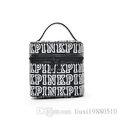 PINK Makeup Bag Love Pink Cosmetic Bags Double Zipper Handbag Portable Storage Bags 18*18*18cm Travel Bag Towel