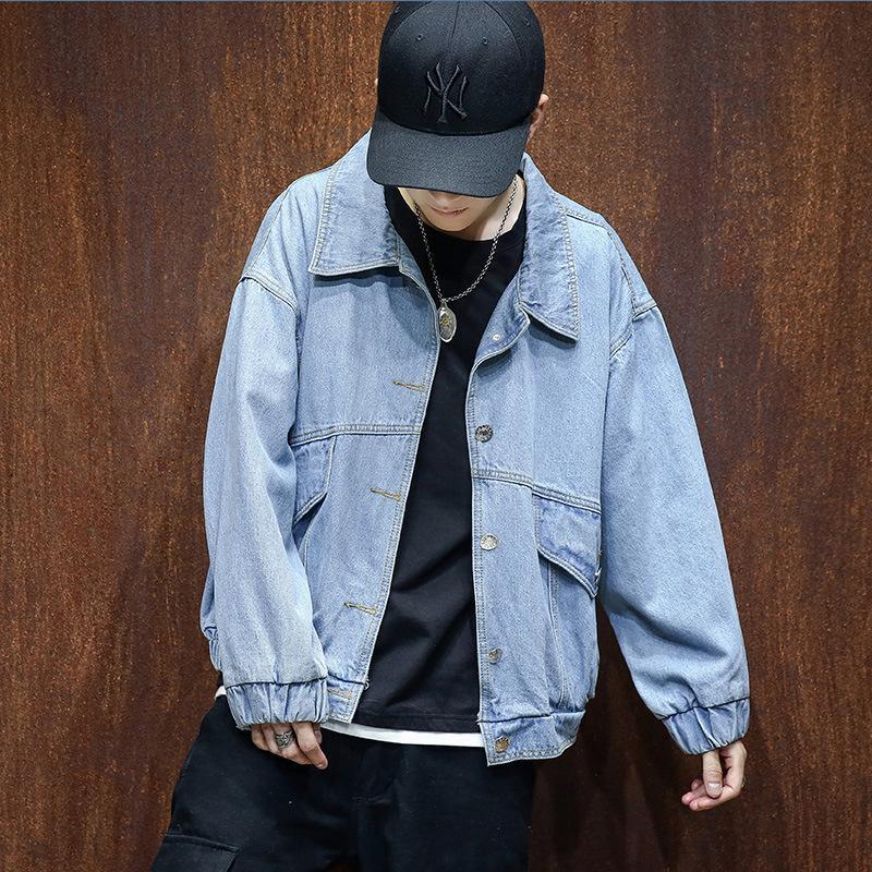 Fashion Oversized Denim Jacket Men Autumn Ripped Blue