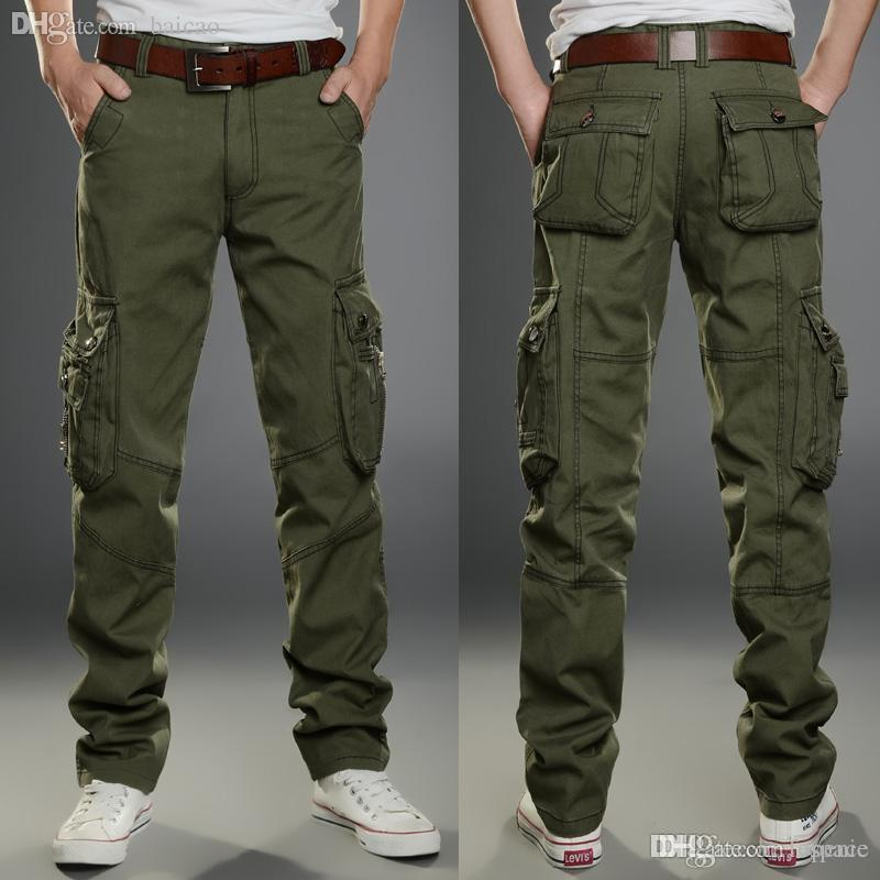 7fa7acd1ebd Wholesale-Mens Big Size Army Green Cargo Pants Outdoor Casual Pant ...