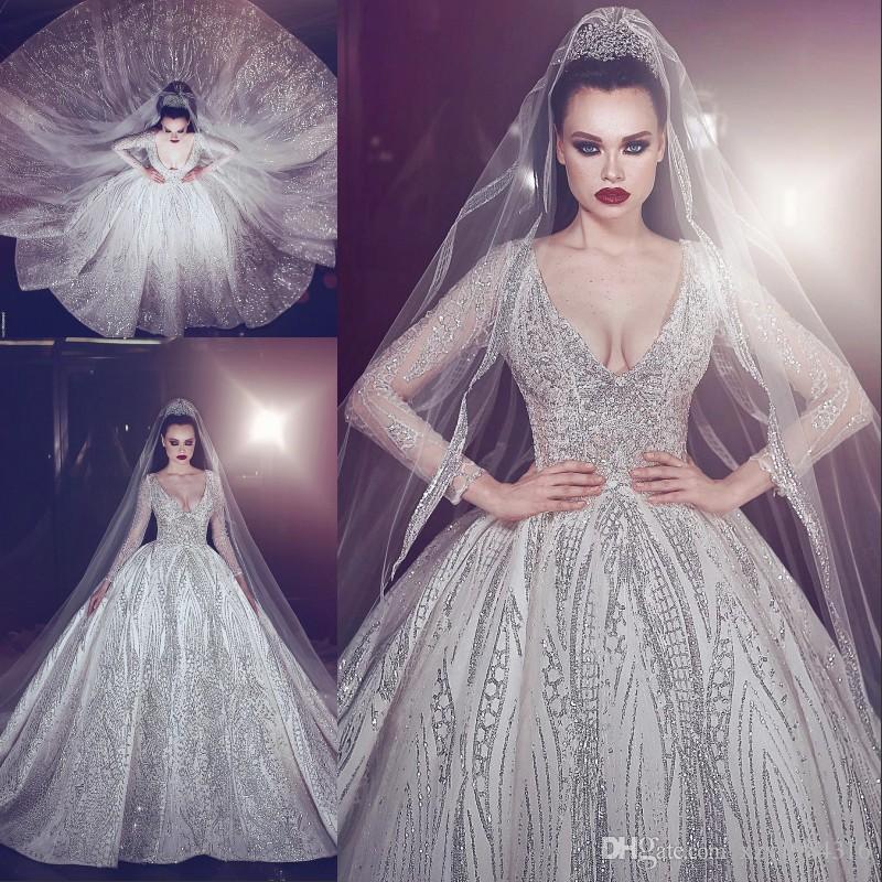 Compre Sparkly Lentejuelas Perlas Vestido De Novia Magnífica Dubai ...