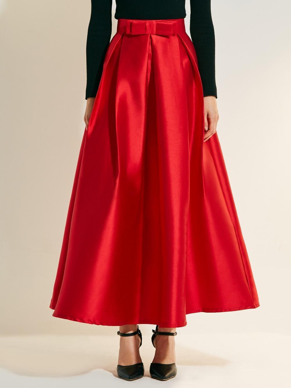 Compre Nuevo Cintura Alta Elegante Falda Roja Una Línea Arco Faldas Largas  Mid Calf Mujer Faldas Saia Tallas Grandes Jupe Falda Larga De Satén A   35.35 Del ... 97891150ae35