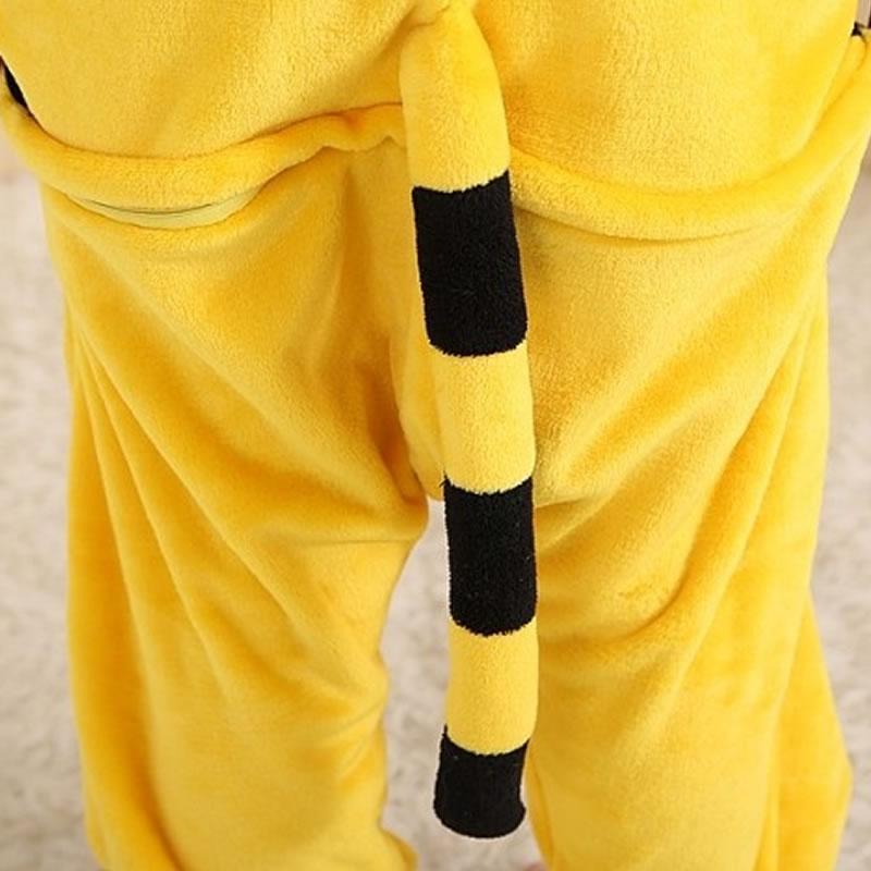 Yellow Tiger Unisex Adults Spring Autumn And Winter Flannel Hooded Onesies Pajamas Cosplay Cartoon Cute Animal Sleepwear