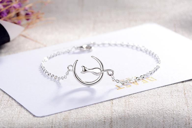 Chaton mignon, chat de lune, bracelet, personnalité de la dame, petit ornement à la mode animal