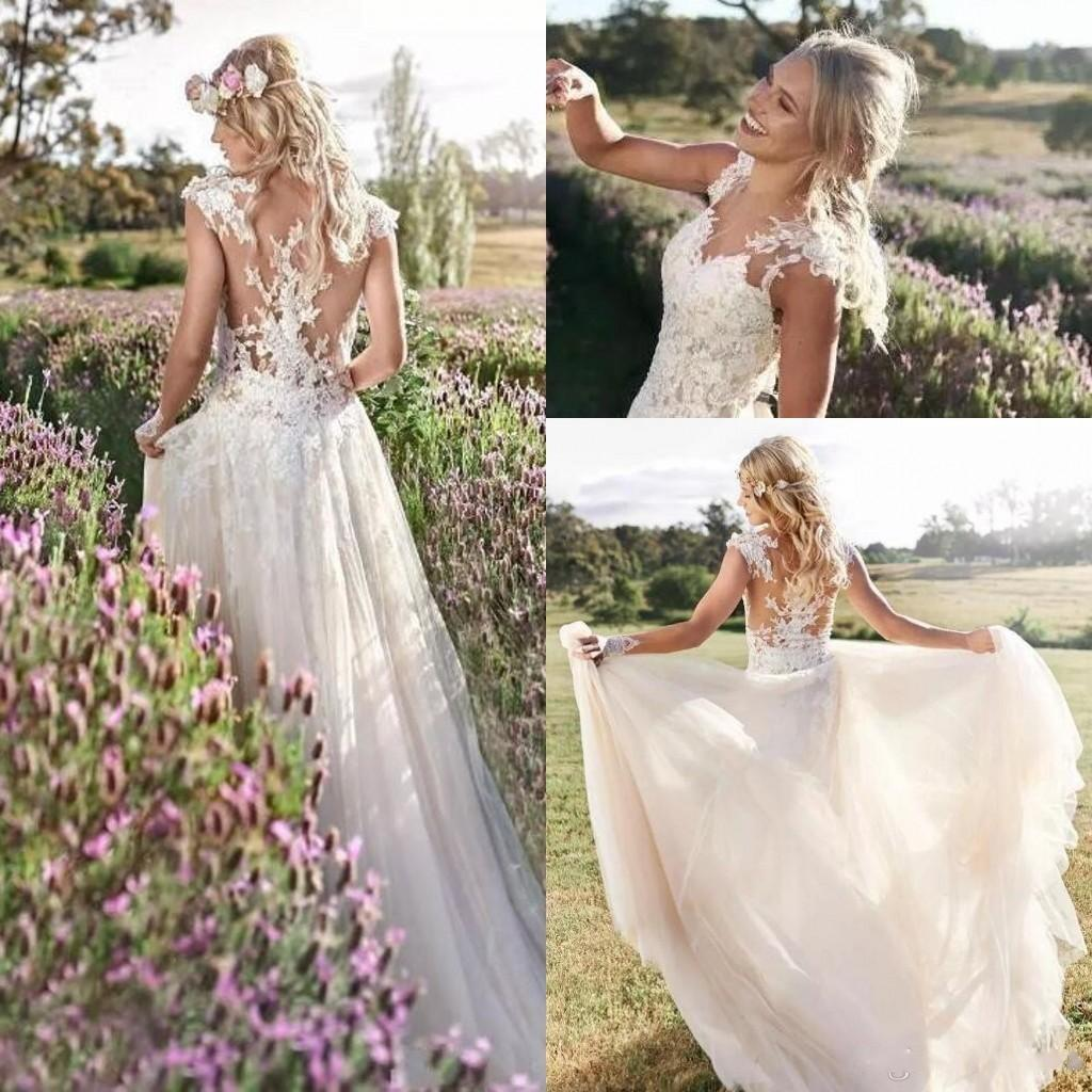 2018 Fashion Simple Beige Wedding Dresses Full Sleeve: Discount Simple A Line Bohemian Beach Wedding Dresses 2018