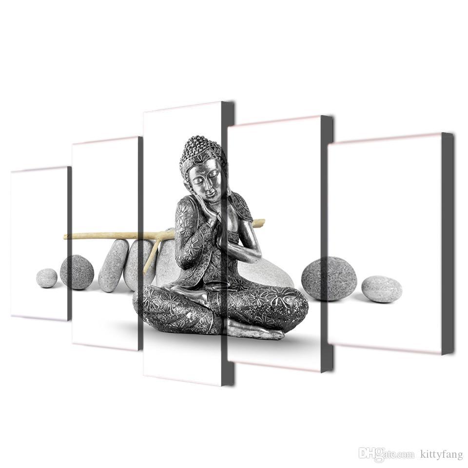 5 Шт. / Компл. В Рамке HD Печатный Камень Будды Wall Art Печать на Холсте Плакат Картины на Холсте Абстрактная Живопись Маслом