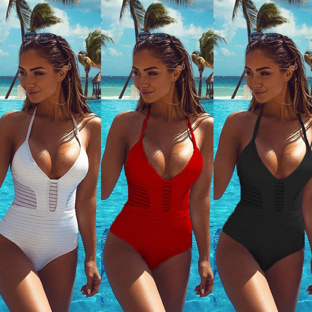 948384b1fd0d6 2019 2018 Summer Sexy Womens One Piece Swimsuit Monokini Push Up Bikini  Swimwear Beach Tankini Bathing Suit Beachwear From Lin and zhang