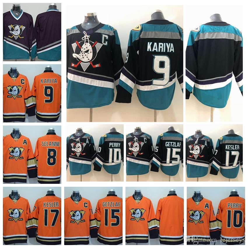 2019 2018 Anaheim Ducks 8 Teemu Selanne 9 Paul Kariya 10 Corey Perry 15  Ryan Getzlaf 17 Ryan Kesler Black Purple Orange Hockey Jersey From  Lejerseys 012ff331b