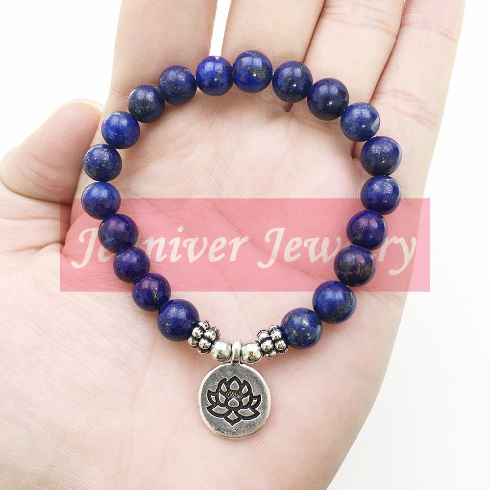 e44a3f84d7c3a Jeaniver High Quality Lapis Lazuli Bracelet Natural Stone Bead Mens  Bracelet Throat Chakra Spiritual Gift for Him Free Shipping