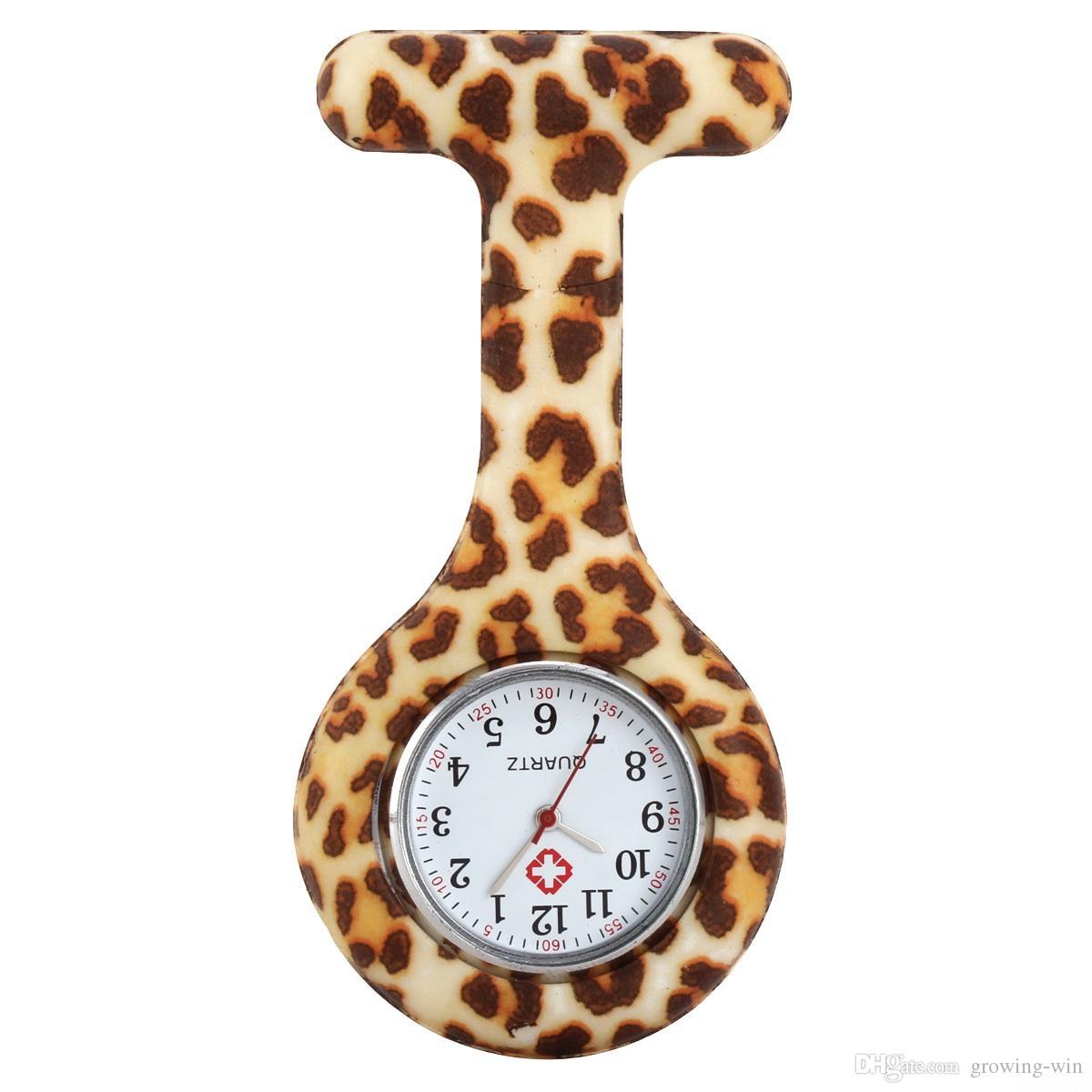 Großhandel Fashion Unisex runde Krankenschwester-Doktor Pin Dame Silikon-Gummi-Tarnung Quarz Zebra-Leopard-Blume Taschen Süßigkeiten Uhren