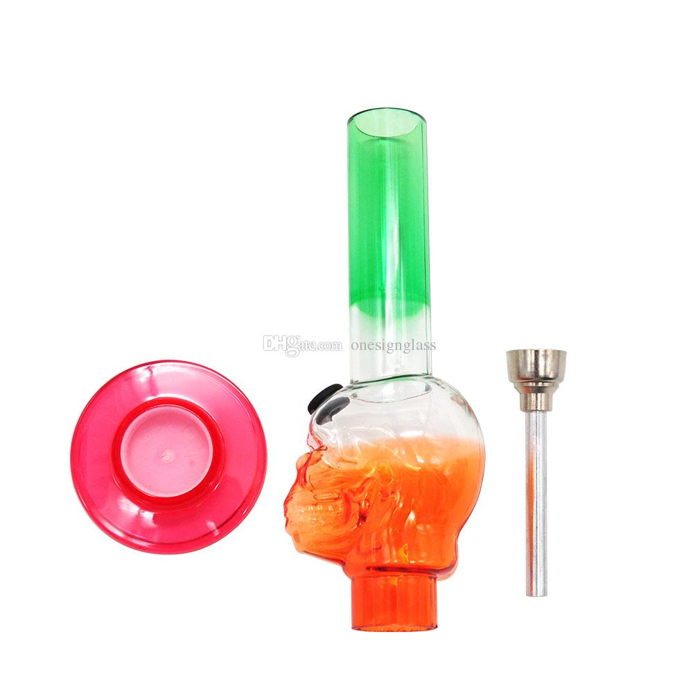 M822 best quality with wholesale factory price colorful silicone glass bong,newest skull acrylic silicone pipes from china supplier