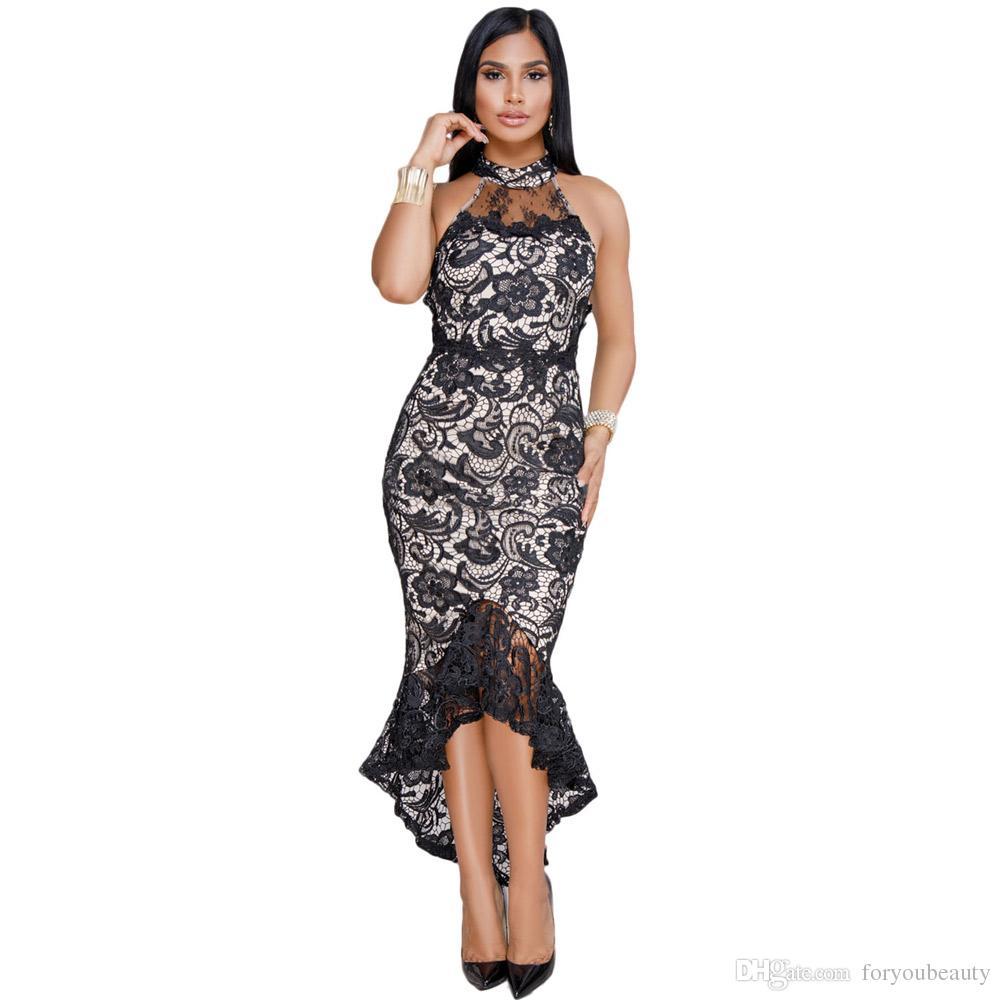 2ca8e0fde8d Acheter Mode Femmes Noir Illusion Nude Encolure Haute À Volants Ourlet Robe  De Bal Midi Robe De Soirée Sans Manches En Dentelle Sans Manches De  28.04  Du ...