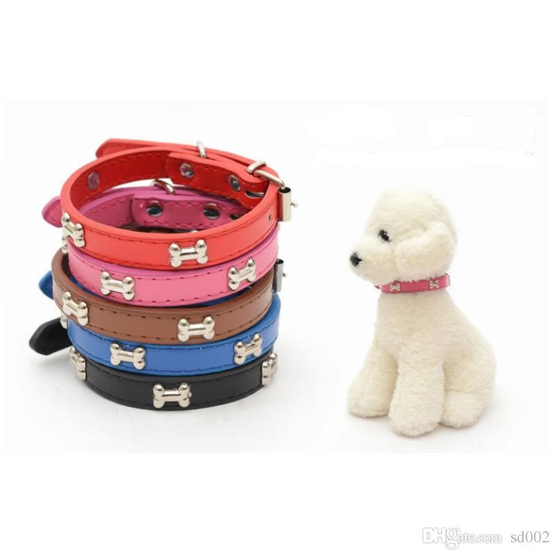 Dog Bone PU Leather Collar Adjustable Puppy Cat Strap Collars Cute Neck Ring Pet Supplies Pure Color Fashion 2 3ml3 bb
