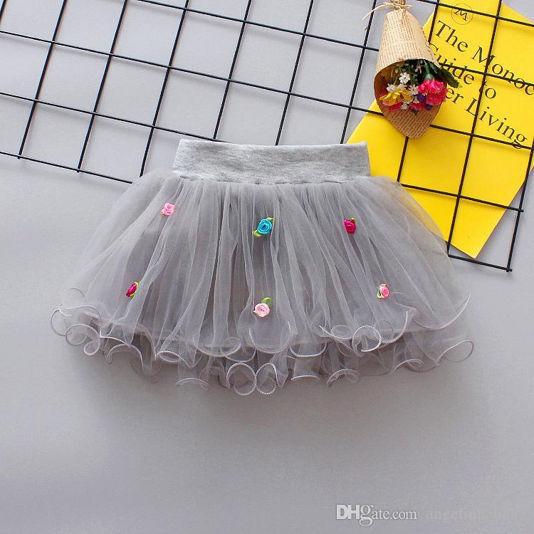 es flores de verano falda de gasa para los niños niños fiesta de baile corto falda bebé niñas faldas TUTU Princesa trajes de fiesta
