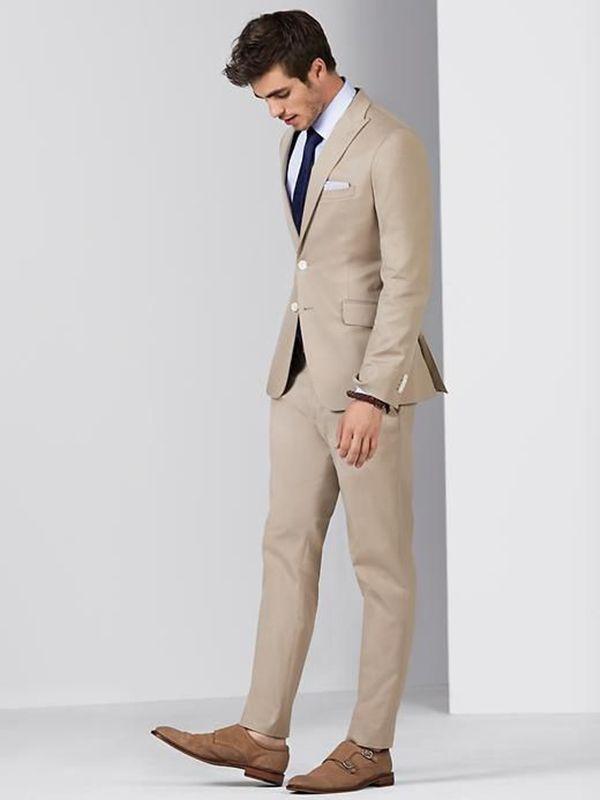 03e0320fe 2019 Men Suits 2018 Summer Beige Custom Made Wedding Suits Business ...