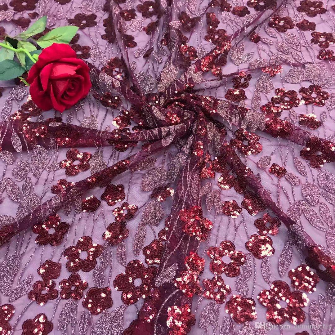 KY1015 vermelho 2018 5 jardas / pc de alta qualidade Africano net renda francesa farbic com lantejoulas pesadas bordados para o vestido de festa