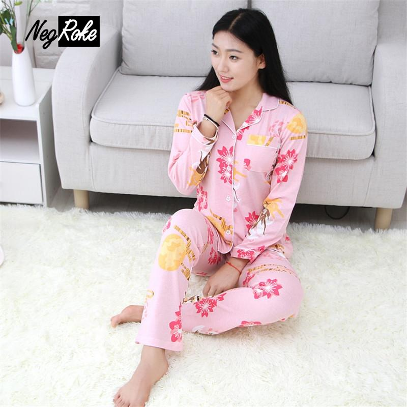 213672b7c204 2019 100% Cotton Pink Cute Fox Pajamas Sets For Women Autumn Pyjamas Long  Sleeve Sheepwear Women Loungewear Pijamas Mujer Ladies New From Vanilla01