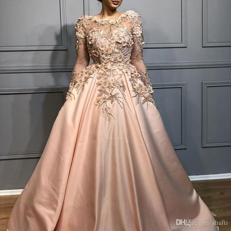 Arabian Dubai Sheer Ball Gown 2018 Evening Dresses Flower Heavy Beading  Sleeve Illusion Prom Dresses Long Vestidos De Festa Graduate Dresses Womens  Evening ... 233d2dc93a39