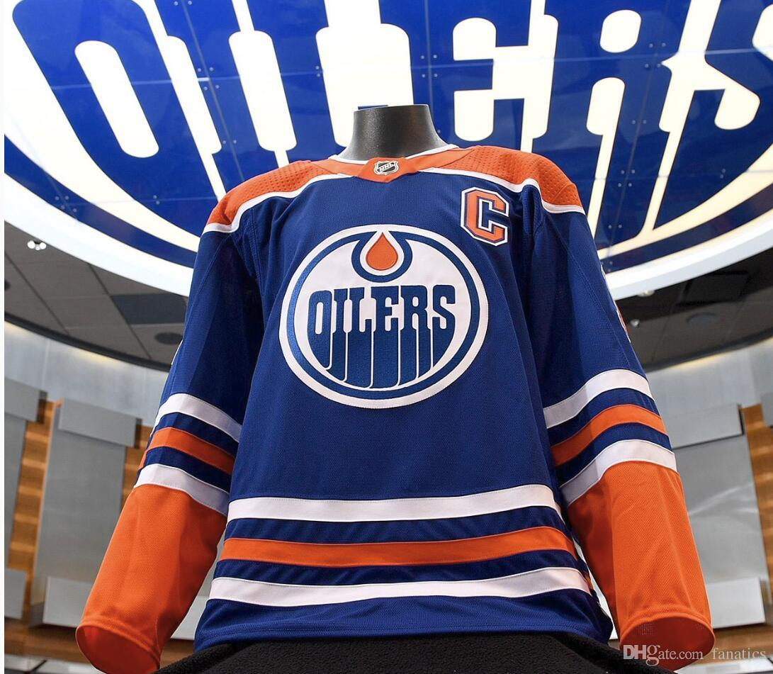 b0ebb380450 2019 2018 2019 Edmonton Oilers 40th Anniversary Patch 97 Connor McDavid 33  Cam Talbot 29 Leon Draisaitl 27 Milan Lucic Adam Larsson Hockey Jersey From  ...