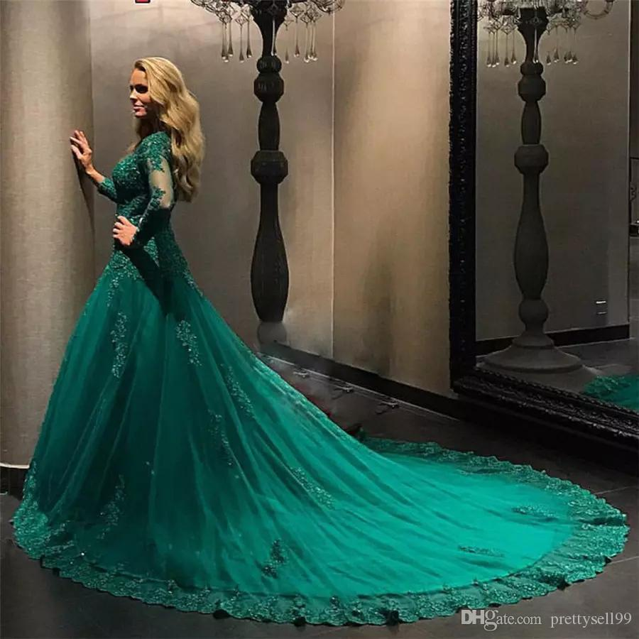 Custom Long Sleeves Lace Evening Dresses 2018 with Appiques Beaded Emerald Green Court Train Ball Gown Prom Dresses