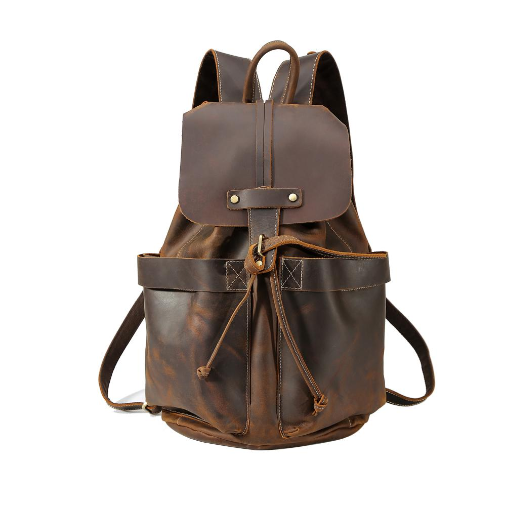 Tiding Designer Genuine Cow Leather Mens Travel Backpack Vintage String Rucksack  Travel Weekender Bag Laptop Backpack Brown New Batman Backpack Running ...