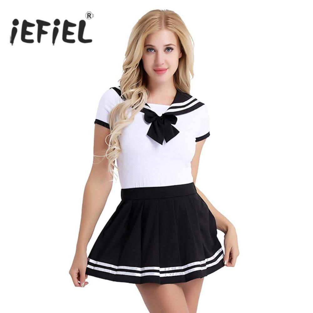 b0637a8f994 2019 Women Adult Cotton Baby Diaper Lover School Girls Snap Crotch Romper  With Mini Pleated Skirt Clubwear Costume Cosplay Sets Sexy From Beenling