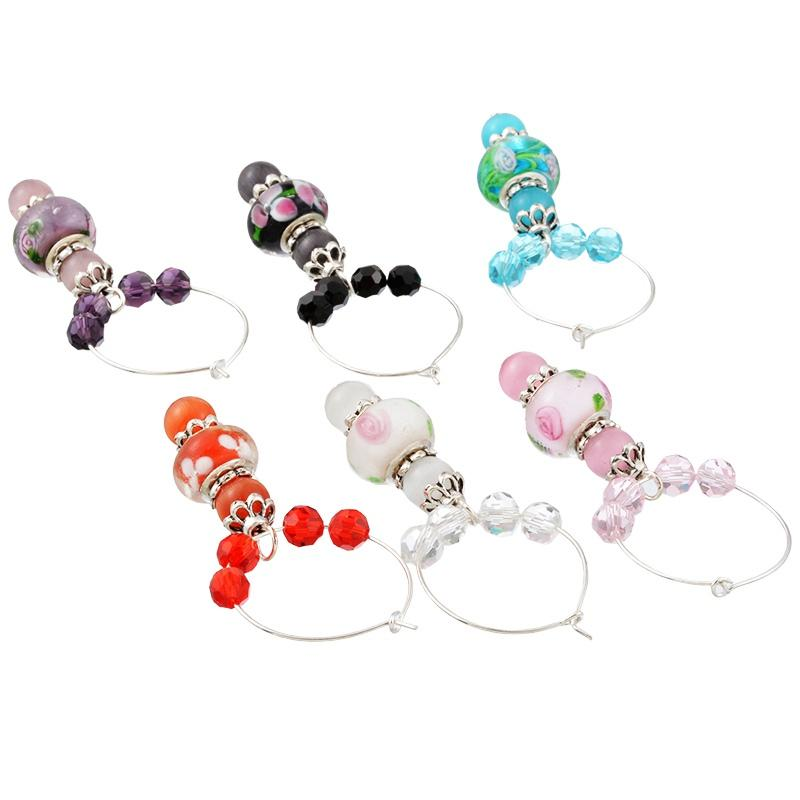 Mixed Wine Charms Crystal/European Charm Beads Gifts Table Wedding Party Decorations Party Supplies Table Decoration